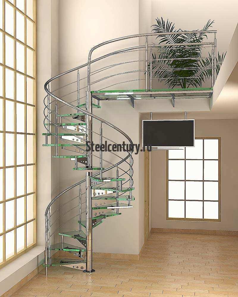 лестница из нержавеющей стали и стекла